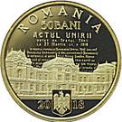 50 Bani (100 de ani de la unirea Basarabiei cu România) – avers