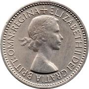 "1 shilling Elizabeth II (1ère effigie, avec ""BRITT:OMN:"", blason de l'Écosse) -  avers"