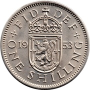 "1 shilling Elizabeth II (1ère effigie, avec ""BRITT:OMN:"", blason de l'Écosse) -  revers"