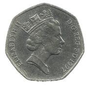 50 pence Elizabeth II (3e effigie, petit module, cupronickel) -  avers