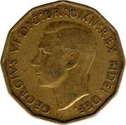 """3 pence George VI (type fleur de poireau, sans """"IND:IMP."""") -  avers"""