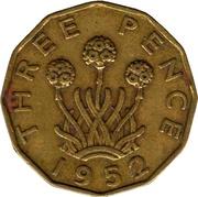 """3 pence George VI (type fleur de poireau, sans """"IND:IMP."""") -  revers"""