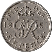 "6 pence George VI (sans ""·IND·IMP"") -  revers"