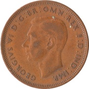 "½ penny George VI (avec ""IND:IMP."") -  avers"