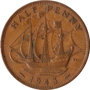 "½ penny George VI (avec ""IND:IMP."") -  revers"