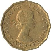 "3 pence Elizabeth II (1ère effigie, sans ""BRITT:OMN:"") -  avers"