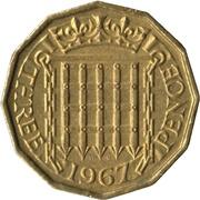 "3 pence Elizabeth II (1ère effigie, sans ""BRITT:OMN:"") -  revers"