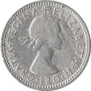 "1 shilling Elizabeth II (1ère effigie, sans ""BRITT:OMN:"", blason de l'Angleterre) -  avers"