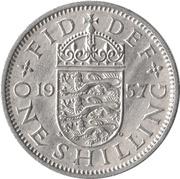 "1 shilling Elizabeth II (1ère effigie, sans ""BRITT:OMN:"", blason de l'Angleterre) -  revers"