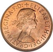 "½ penny Elizabeth II (1ère effigie, sans ""BRITT:OMN:"") -  avers"