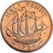 "½ penny Elizabeth II (1ère effigie, sans ""BRITT:OMN:"") -  revers"