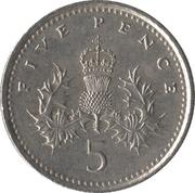 5 pence Elizabeth II (3e effigie, cupronickel, petit module) -  revers