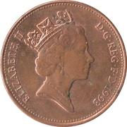 2 pence Elizabeth II (3e effigie, acier plaqué cuivre) -  avers