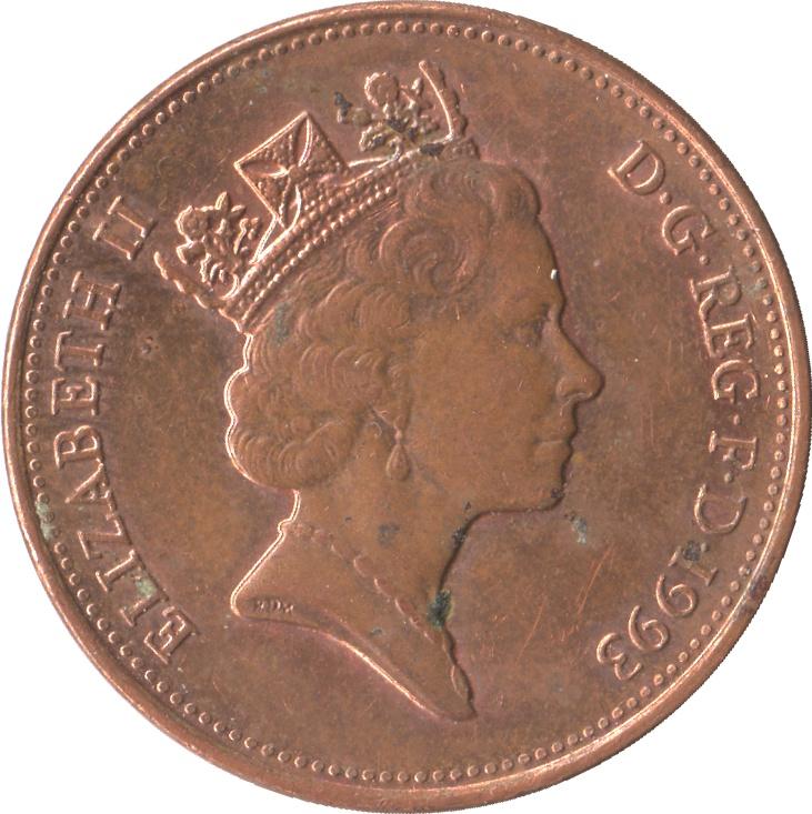 2 Pence Elizabeth Ii 3e Effigie Acier Plaqu 233 Cuivre