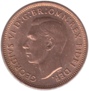 "1 farthing George VI (sans ""IND:IMP."") – avers"