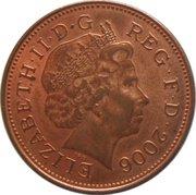 2 pence Elizabeth II (4e effigie, type plumes, acier plaqué cuivre, magnétique) -  avers