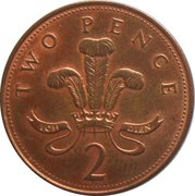 2 pence Elizabeth II (4e effigie, type plumes, acier plaqué cuivre, magnétique) -  revers
