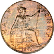 """½ penny Victoria (""""old head"""") – revers"""