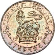 6 pence George V (1ère effigie, argent 925‰) -  revers