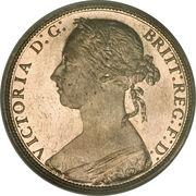 "1 penny Victoria (2e type, ""bun head"") -  avers"