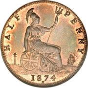 """½ penny Victoria (""""bun head"""", légère) – revers"""