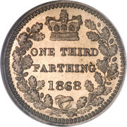 "⅓ farthing Victoria (""bun head"") – revers"