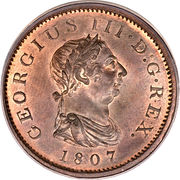½ penny George III (2e effigie, date sur l'avers) – avers
