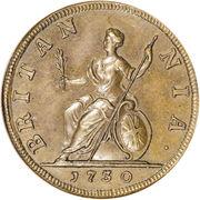 1 farthing George II (1ère effigie, cuivre) – revers