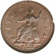 1 farthing George I (listel large, cuivre) – revers