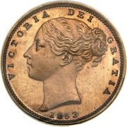 """1 farthing Victoria (""""young head"""", bronze plaqué cuivre) – avers"""