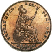 """1 farthing Victoria (""""young head"""", bronze plaqué cuivre) – revers"""