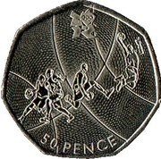 50 pence JO 2012 Basket-ball (cupronickel) -  revers