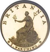 1 farthing George III (2e effigie, avec valeur faciale, cuivre doré) – revers