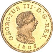 1 farthing George III (2e effigie, sans valeur faciale, cuivre doré) – avers