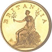 1 farthing George III (2e effigie, sans valeur faciale, cuivre doré) – revers