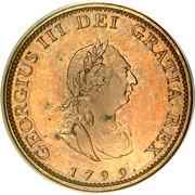 1 farthing George III (2e effigie, avec valeur faciale, bronze plaqué cuivre) – avers
