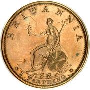 1 farthing George III (2e effigie, avec valeur faciale, bronze plaqué cuivre) – revers