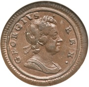 1 farthing George I (listel large, cuivre) – avers