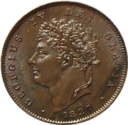 ⅓ farthing George IV – avers