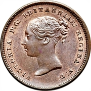 """½ farthing Victoria (""""young head"""") – avers"""