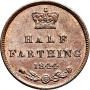 """½ farthing Victoria (""""young head"""") – revers"""