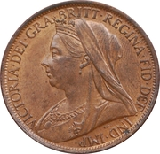 """1 penny Victoria (""""old head"""") -  avers"""