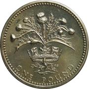 1 livre Elizabeth II (2e effigie, chardon écossais, laiton) -  revers