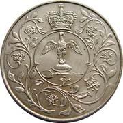 25 nouveaux pence Jubilé d'argent de règne (cupronickel) -  revers