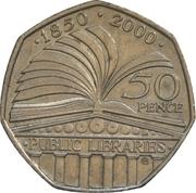 50 pence Bibliothèques publiques (cupronickel) -  revers
