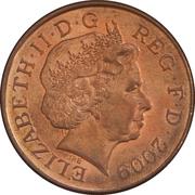 2 pence Elizabeth II (4e effigie, type blason, acier plaqué cuivre) -  avers