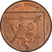 2 pence Elizabeth II (4e effigie, type blason, acier plaqué cuivre) -  revers