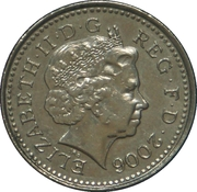 5 pence Elizabeth II (4e effigie, type chardon) -  avers