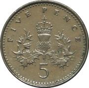 5 pence Elizabeth II (4e effigie, type chardon) -  revers
