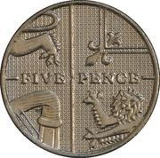 5 pence Elizabeth II (4e effigie, type blason, cupronickel) -  revers